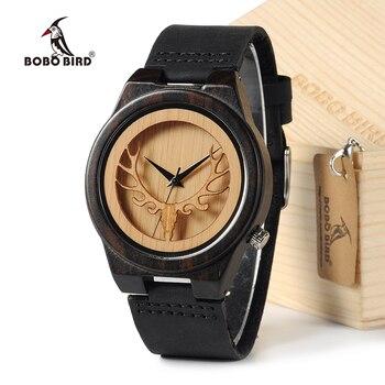BOBO oiseau Deear Head japon mouvement Quartz montres en bois montre Antique avec véritable bande de cuir de vachette décontracté