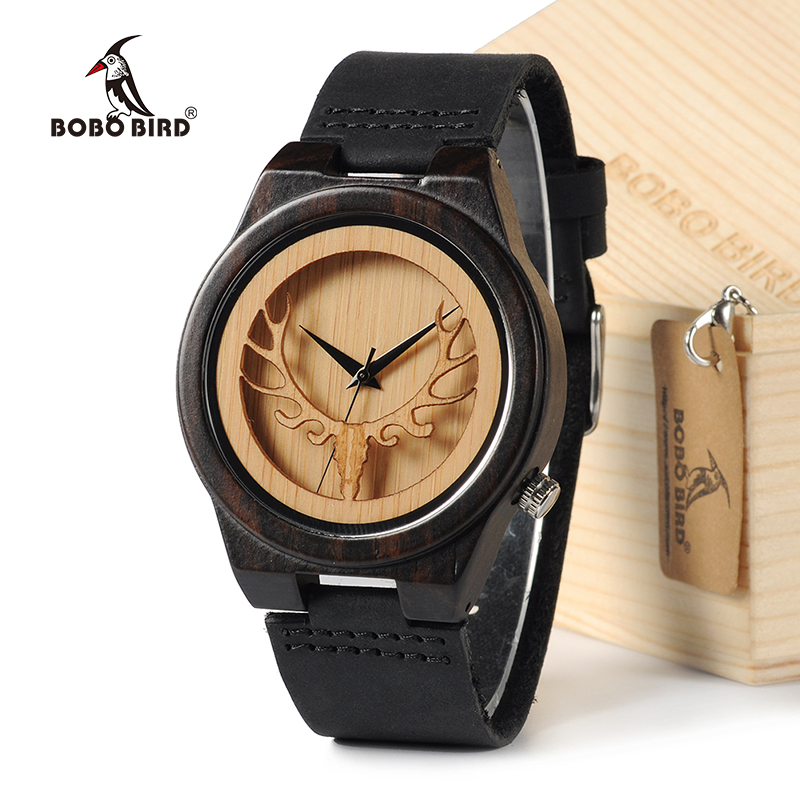 BOBO BIRD Deear Head Japan Bevegelseskvarts Wooden Watches Antikkvakt med ekte Cowhide Leather Band Casual Watches