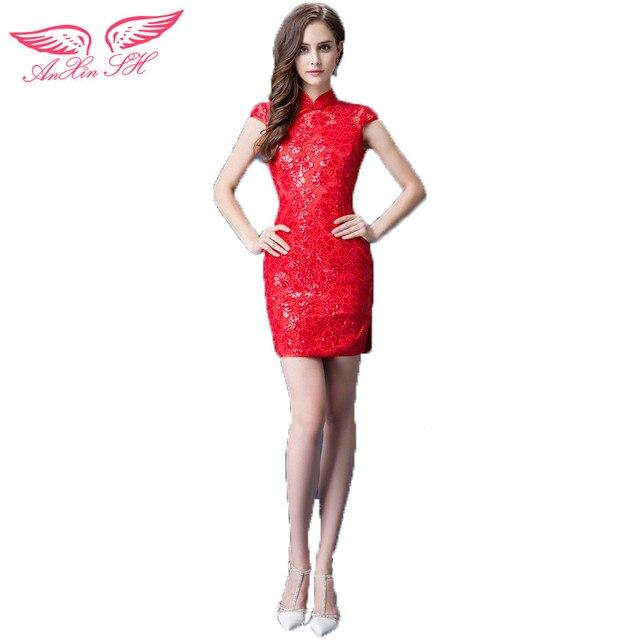 AnXin SH Red Lace sparkle braut Cocktailkleider roten cheongsam ...