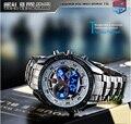 Moda de Los Hombres del Deporte Reloj Moda Azul del Binario LED Del Indicador Del Reloj Para Hombre Relojes de Buceo Impermeable