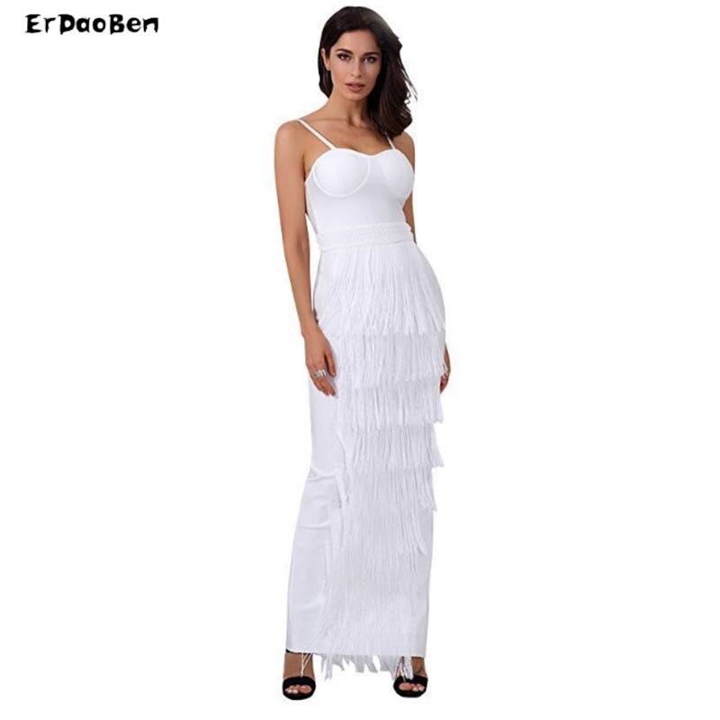 Erdaoben leevless Spaghetti sangle robe dos nu Split Clubwear fête bretelles cheville longueur Sexy Bandage femmes SP3084