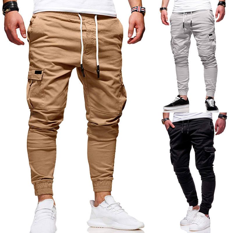 Harem Pants Joggers Trousers Male Solid Sportswear Side-Pockets Drawstring Slim-Fit Ankle-Tied