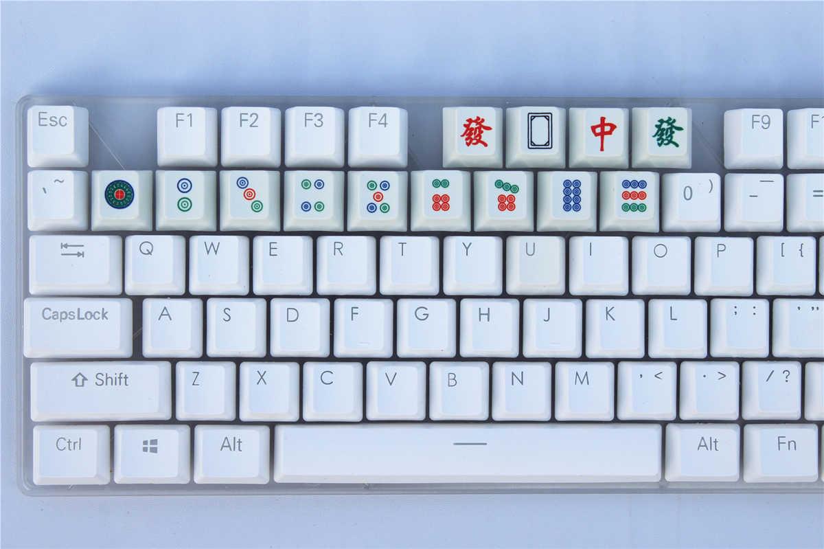 Mahjong Bamboo Bar 7 Tiles Pattern Keycap Mechanical Keyboard PBT Gaming Upgrade Kit