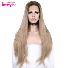 Imstyle Blonde Wig Synthetic Lace Front Wig For Women Long Straight Hair Wig Heat Resistant Fiber Dark Root Natural Wig Cosplay стоимость