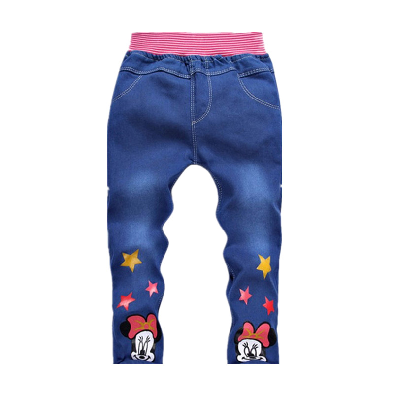2018 New Spring Autumn Children's Clothes Baby Girls Boys Jeans Children Cartoon Trousers Kitty Pants Retail 2-5 Years Old