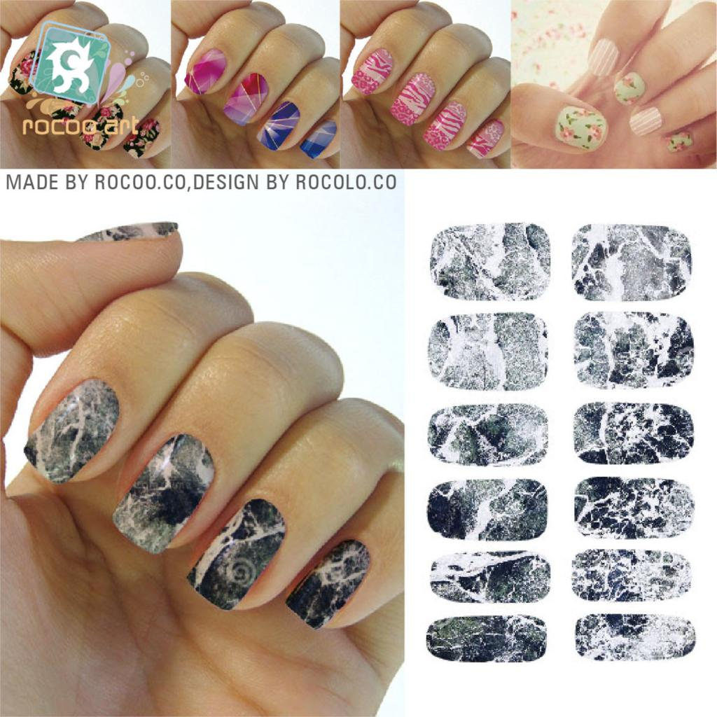 Rocooart K5733 Water Transfer Nail Foil Sticker Art Sexy Light Black Gray Marble Stone Rock Nail Wraps Sticker Manicure Decals 2pcs new water transfer light gray white marble stone rock nail wraps sticker manicure decals nail foil sticker art sexy