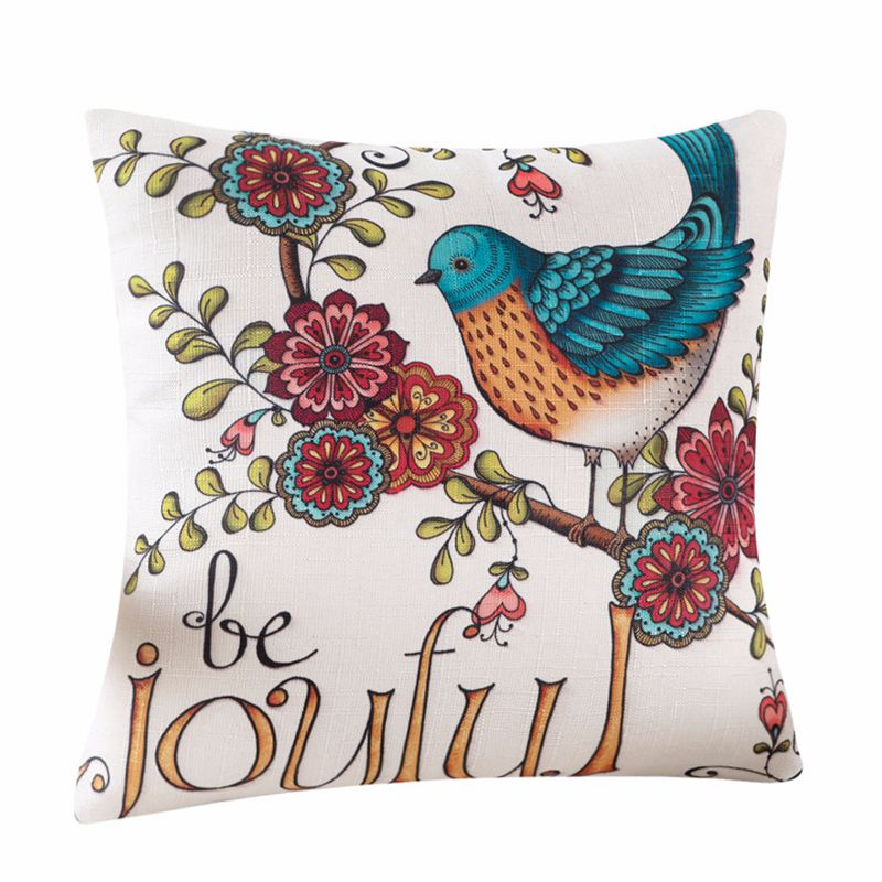 High Quality Vintage Pillow Cover Case Geometric Flower Bird Printed Pillows Cases Bedroom Home Decorative Throw Pillowcases in Cushion Cover from Home Garden