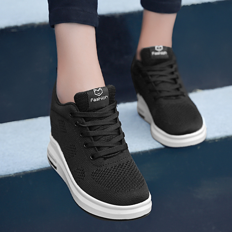 Hide Heel Women Fashion Sneakers Flying Knitting Wedge Casual Shoes Woman Air Mesh Breathable Autumn High Top Ladies Shoes SH3 (30)