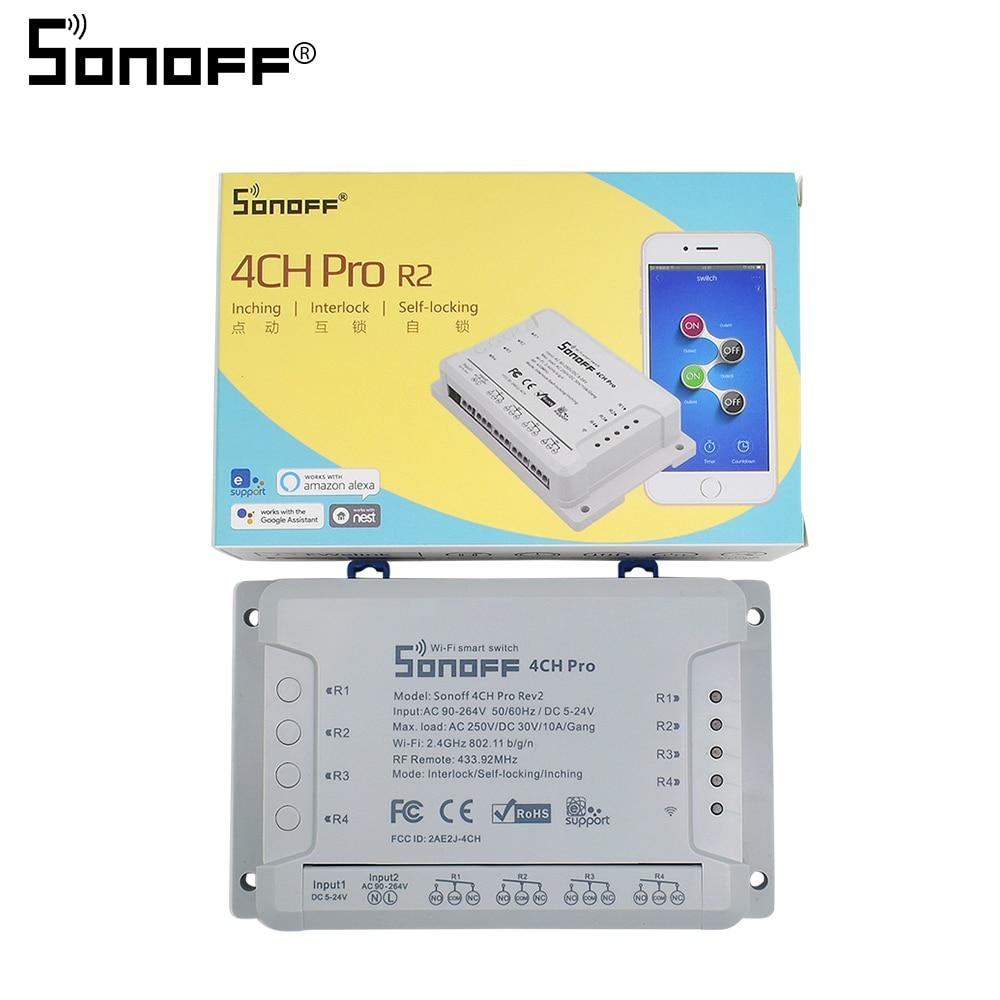 Commutateur sans fil multicanal Sonoff 4CH Pro R2 Wifi pour Module domotique maison intelligente 433 mHZ télécommande 220 V