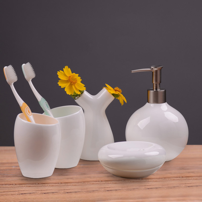 5pcs set real bone china bathroom set toothbrush holder soap dispenser soap dish kit bathroom bathroom accessories gift