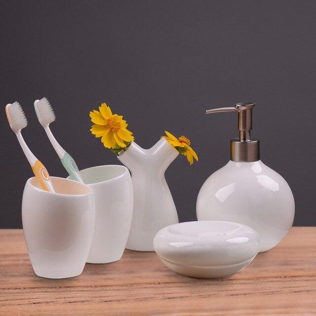 5pcs Set, Real Bone China Bathroom Set, Toothbrush Holder U0026 Soap Dispenser  U0026 Soap