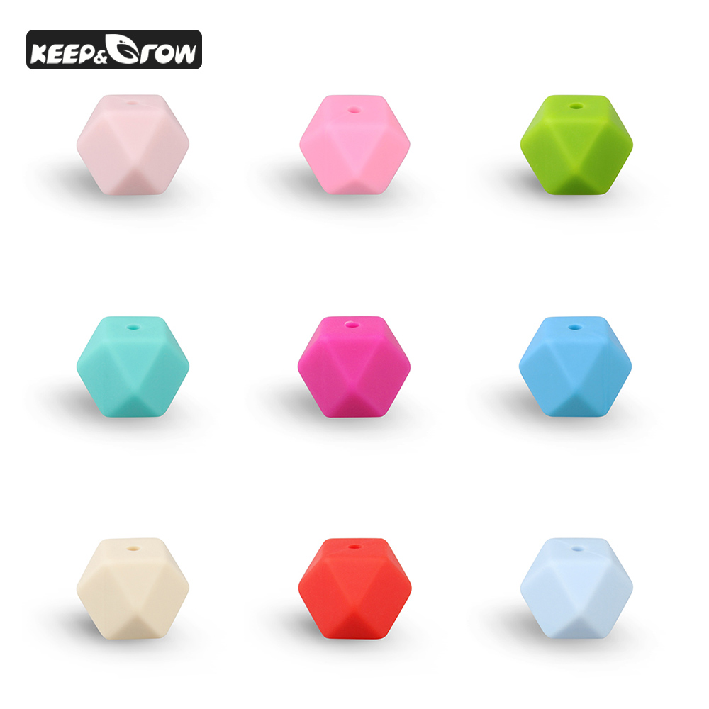 50Pcs/lot Hexagon Silicone Beads 14mm Baby Biting Bead Food Grade Silicone Beads DIY Chewable Silicone Jewelry Necklace Pendant