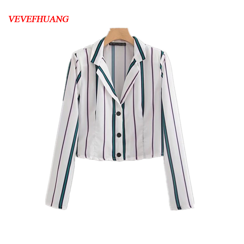 Women Elegant Green Striped Long Sleeve Shirt Short Top Streetwear Button Derocation Chiffon Turn-Down Collar Feminine Vestidos