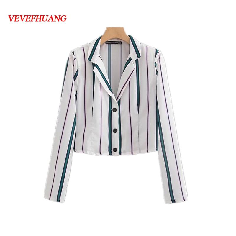 Women Elegant Green Striped Long Sleeve Shirt Short Top Streetwear Button Derocation Chiffon Turn Down Collar Feminine Vestidos