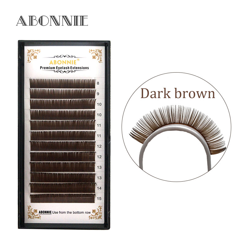 Abonnie 1pc 8-15 12 Rows Dark Brown Faux Mink Eyelash Extension Individual Extension False Eyelashes Eyelash Extension Eyelashes