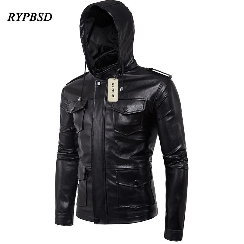 Jaqueta Masculina Inverno Couro PU Leather Mens Jacket Fashion Brand Biker Jacket Men Motorcycle Hooded Mens Leather Jacket