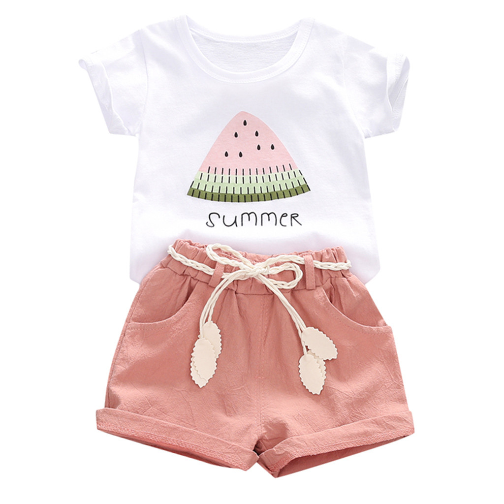 Kids Outfits-Set Shorts Watermelon Print-Tops WORLD Toddler Baby-Girl Casual Letter Roupa