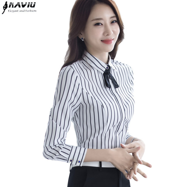 fe779a569cb Naviu new fashion high quality womens tops and blouses stripe shirt bow tie  decorated long sleeve tops for autumn clothes
