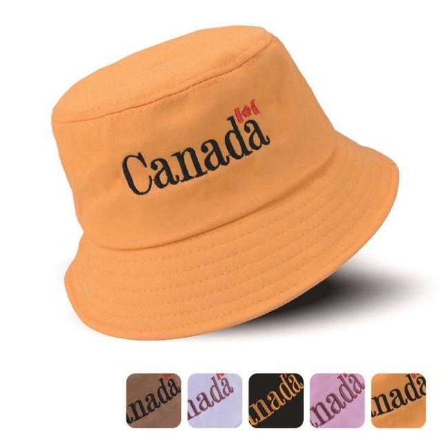 7aa96972 2018 Fashion Letter Canada Cotton Bucket Hats Men Women Panama Fisherman  Hats Summer Street Hip Hop Cap Sun Hats Beach Bucket