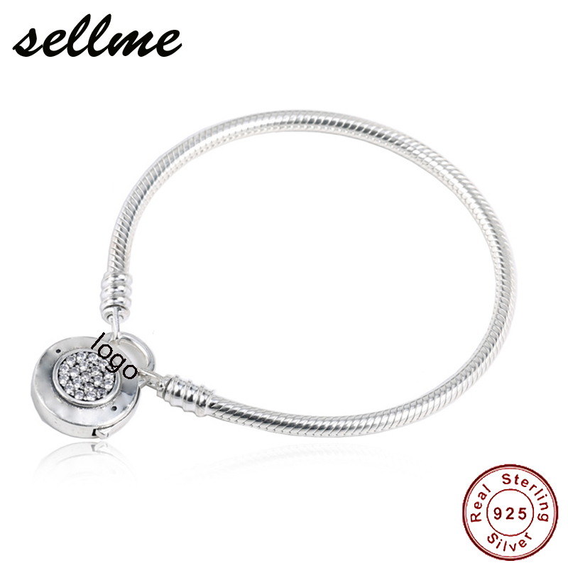 100% Real 925 Sterling Silver MOMENTS Smooth Bracelet with Signature Padlock Fit Pan Charm Bracelets DIY Silver Jewelry 925 sterling silver pandora bracelet moments smooth bracelet with signature padlock fit lady beads charm pendant jewelry