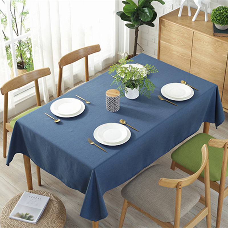 Multi Color Solid Decorative Linen Tablecloth Waterproof Oilproof Thick Rectangular Wedding Dining Table Cover Tea Table Cloth