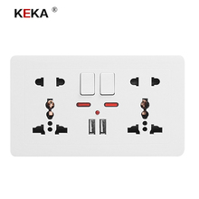KEKA Wall Socket Universal Power Outlet Double 146 Socket with Dual USB Smart Induction Charge Port For Mobile 5V 2.1A coswall wall socket uk standard power outlet switched with dual usb charge port for mobile 5v 2 1a output stainless steel panel