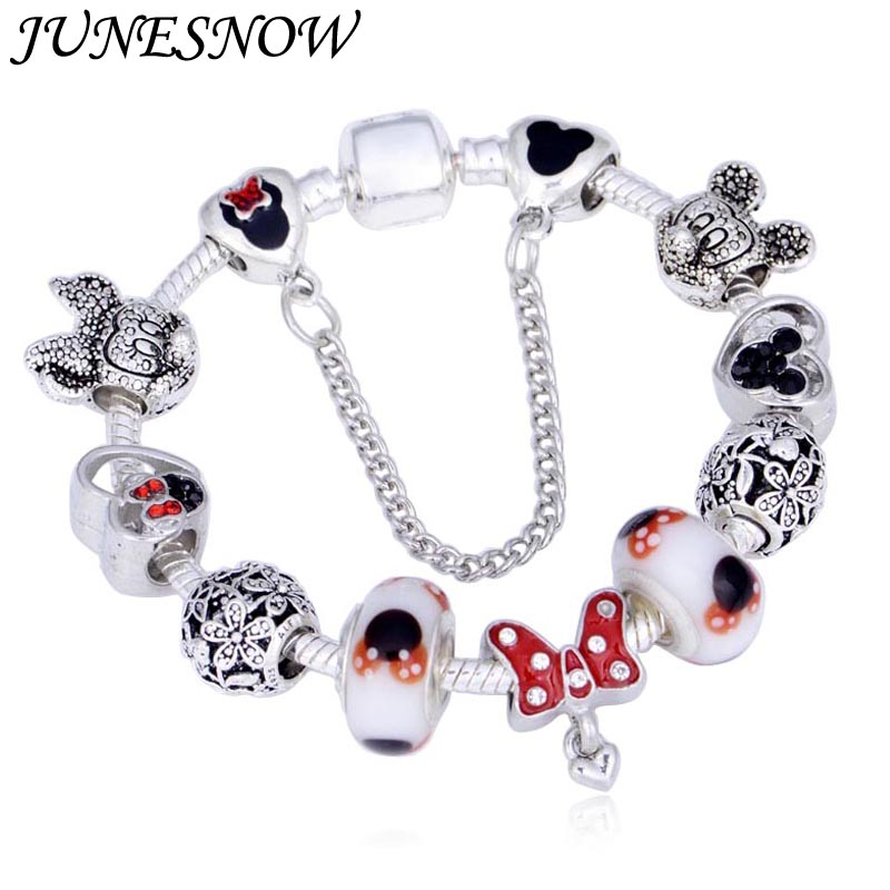 JUNESNOW Dropshipping Mickey Minnie Charm Bracelet With Nice Marano Beads Fit Original Pandora Bracelet For Kids Special Gift