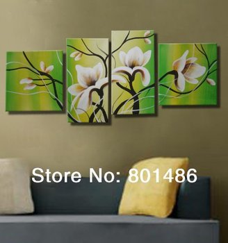 Custom White magnolia Oil Painting Wall Art Canvas 5 Panel Picture flower Art For Home Decorations Drop shipping