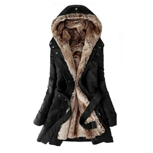 041f2009fc0 Hot Free shipping Faux fur lining women s winter warm long fur coat jacket  cotton clothes fur Hoodies Ladies coats wholesale