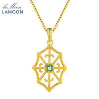 LAMOON Spider Web 3mm Round Cut Green Emerald Necklace 100% Real S925 Jewelry Box Chain+Pendant Necklace for Men Women LMNI035
