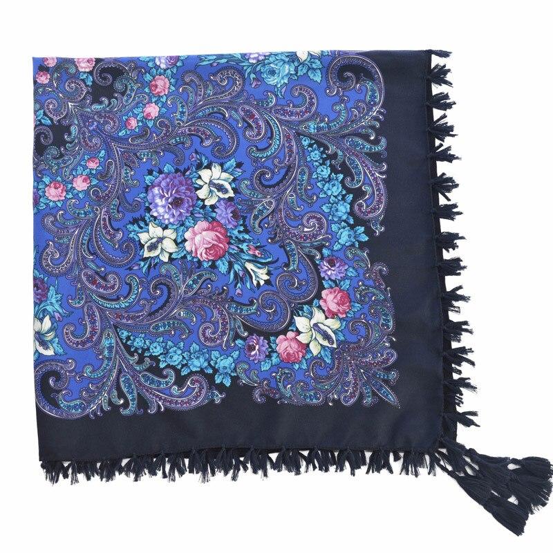 Fashion Women   scarf   Russian Style shawl Vintage Floral print Hijab tassel Shawl Bohemia Bandana cap 90*90cm Free shipping