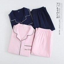 Новинка, Хлопковая пижама, женские пижамные комплекты, Весенняя пижама с длинным рукавом и v-образным вырезом, женская пижама для отдыха