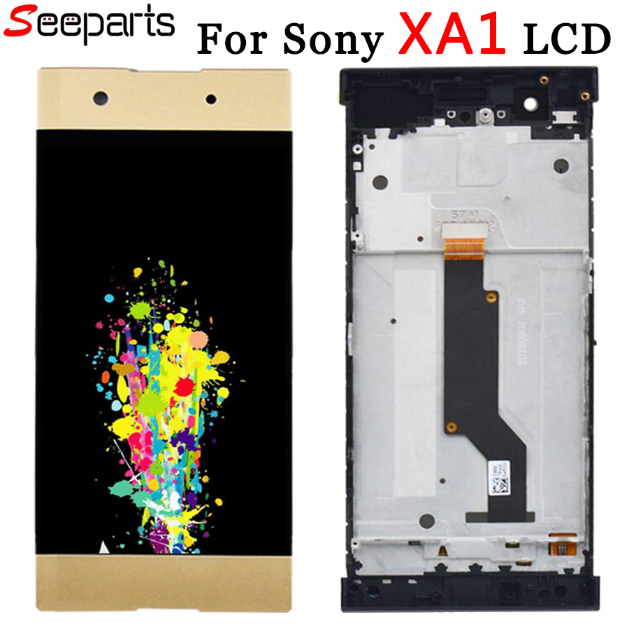 For <font><b>Sony</b></font> Xperia XA1 <font><b>LCD</b></font> Display Touch Screen Digitizer G3116 G3121 <font><b>G3112</b></font> Assembly With Frame Replacement For 5.0