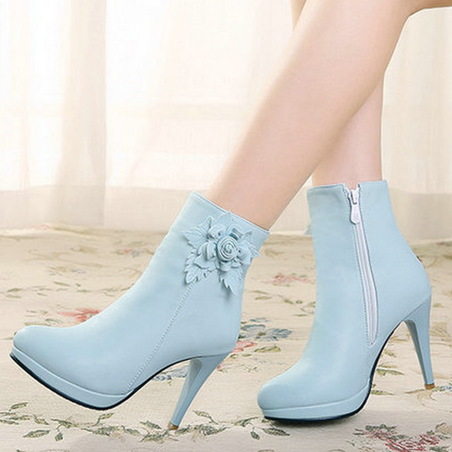 Size 34-43 Sexy Flower PU Leather Thin High Heel Woman PU leather Ankle Boots Women Shoes Zipper Ladies Motorcycle Boots