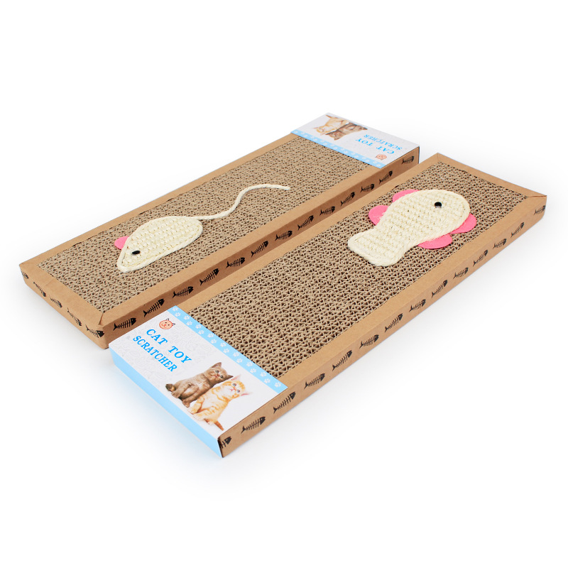 5pcs/lot Mouse Fish Style Pet Cat Scratch Play Pad Corrugated Safe Card Board Scratcher Toy Cat Supplies