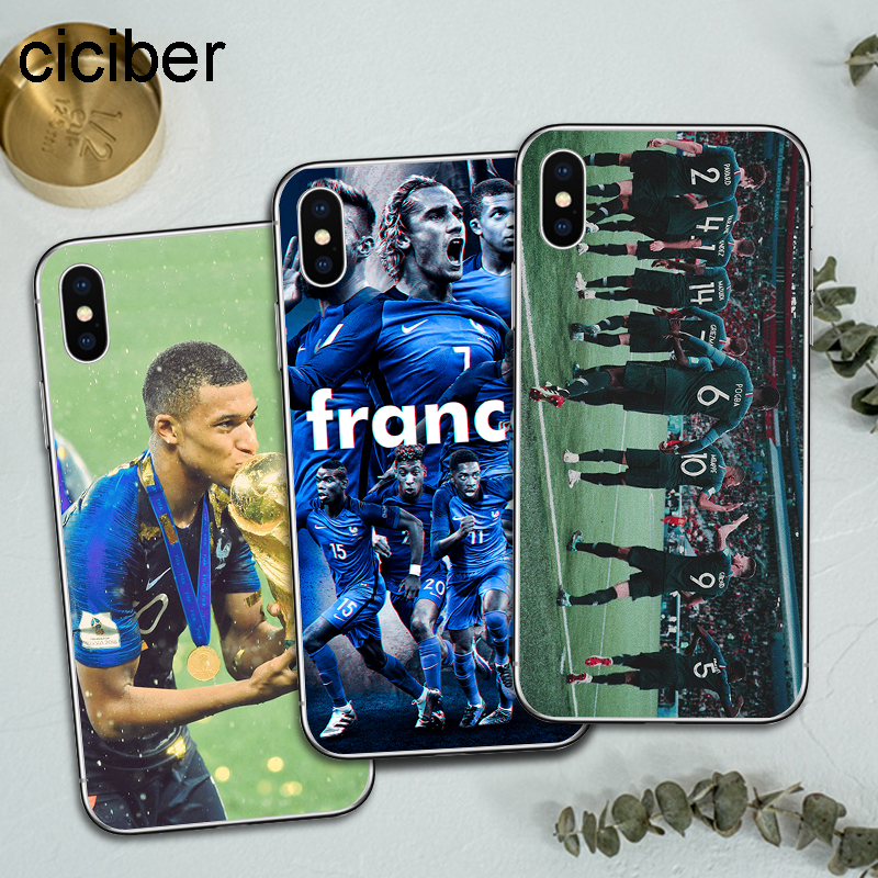ciciber Football French Star Pogba Kylian Mbappe Soft Silicon Phone Cases Cover For iPhone Case 7 6 8 6s Plus X Fundas чехлы марвел