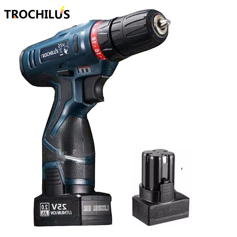25V cordless drill Multi-function power tool Rechargeable miniature electric drill screwdriver with lithium battery * 2