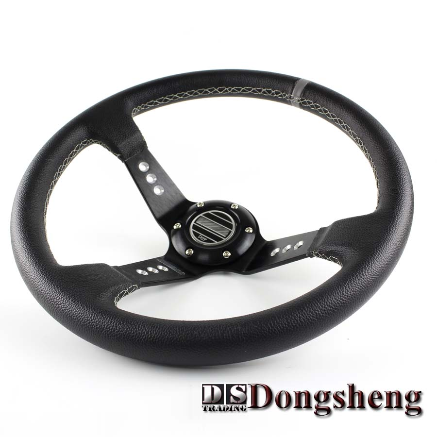 "14 ""350MM Blue Car Steering Wheel yarn mill leather Steering Wheel Steering Wheel Deep Corn Dish Wholesale and Retailer"