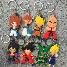 Anime Dragon Monkey Keychain Son Goku Super Saiyan Silicone PVC Keychain Action Figure Pendant Keyring Collection Toy ZKDBF(China)