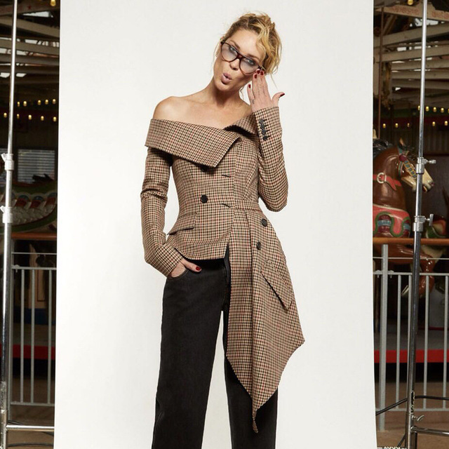 [QLZW]  2018 Autumn New Arrival Fashion Turn-down Collar Double Breasted Irregular Hem Plaid Casual Women Blazer Lady KB813