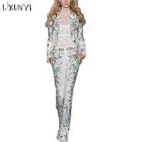 LXUNYI 2018 взлетно посадочной полосы цветочной вышивкой Женские брюки костюм комплект 2018 элегантный 2 шт. Блейзер И Брюки High Street женский комплек