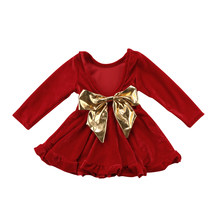 1d5ee117c4741 Pudcoco printemps mode filles à manches longues robe velours robe de  princesse 2018 enfants grand arc fête de mariage robe rouge.