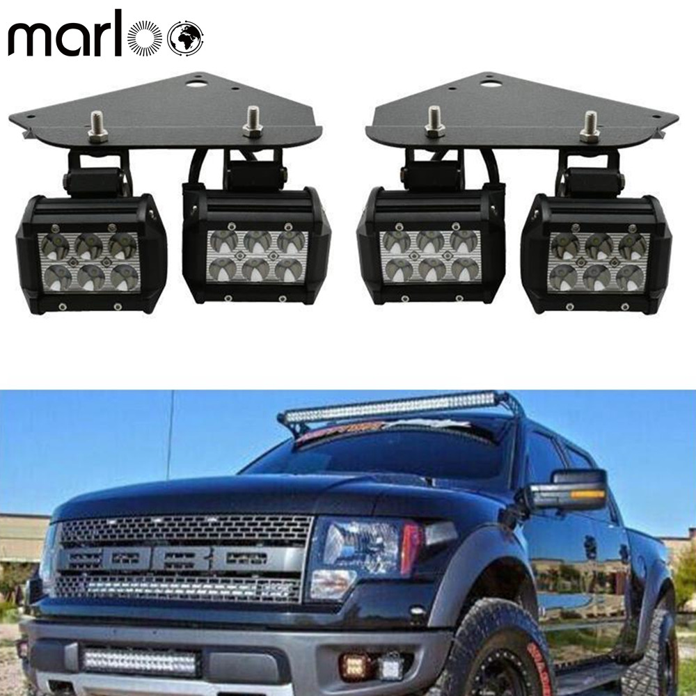 Marloo For 2010 2011 2012 2013 2014 Ford F150 SVT Raptor Truck 18W LED Fog Light Kit With Bumper Mounting Bracket Set монстр 1 12 электро savage xs flux ford svt raptor 2 4ghz влагозащита без акб и з у