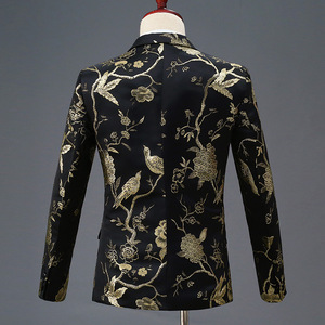 Image 3 - PYJTRL New Design Mens Stylish Embroidery Royal Blue Green Red Floral Pattern Suits Stage Singer Wedding Groom Tuxedo Costume