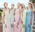 Dusty Blue Bridesmaid Dresses Chiffon Fall Winter Bridesmaid Dress Cheap Blush Pink  Vestido De Festa De Casamento Long