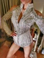 С длинным рукавом серебристыми блестками Tallsel боди Для женщин вечерние костюмы певица купальник этап носить Пром вышивка Экипировка
