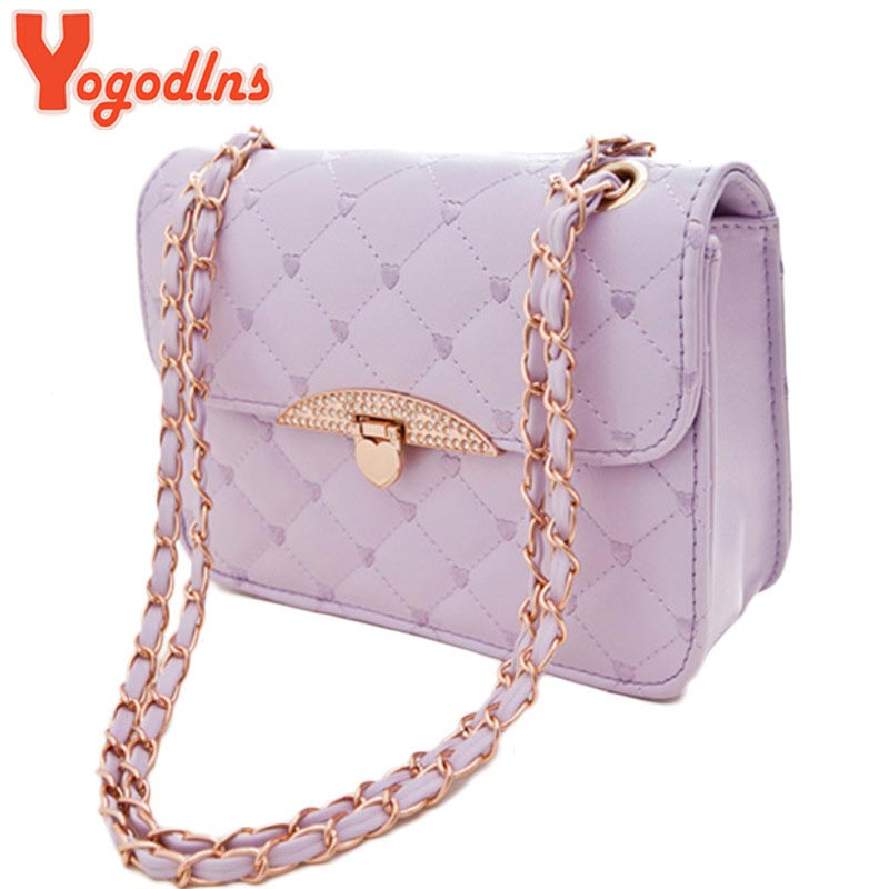 2017 New Fashion High Quality Women Plaid Handbag Small Chain Shoulder Bag Elegant Eveining Clutch Bags heart stone decoration