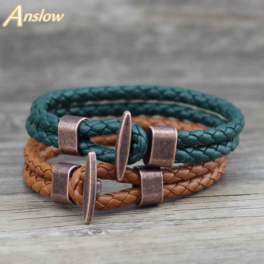 Anslow Joyería de Moda Punk Rock Antique Copper Plated PU Leather Bracelet & Bangle Para Mujeres Hombres Regalo de la Fiesta de la Amistad LOW0241LB