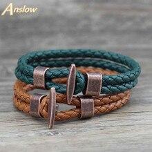 Anslow Fashion Jewelry Trendy Vintage Retro Leather Bracelet For Women Men Unisex Wrap Charm Female Friendship Gift LOW0241LB