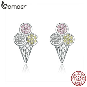 Image 3 - bamoer 4 pcs Ice Cream Jewelry Sets for Women Summer Collection 925 Sterling Silver Earrings Finger Rings and Necklace ZHS117